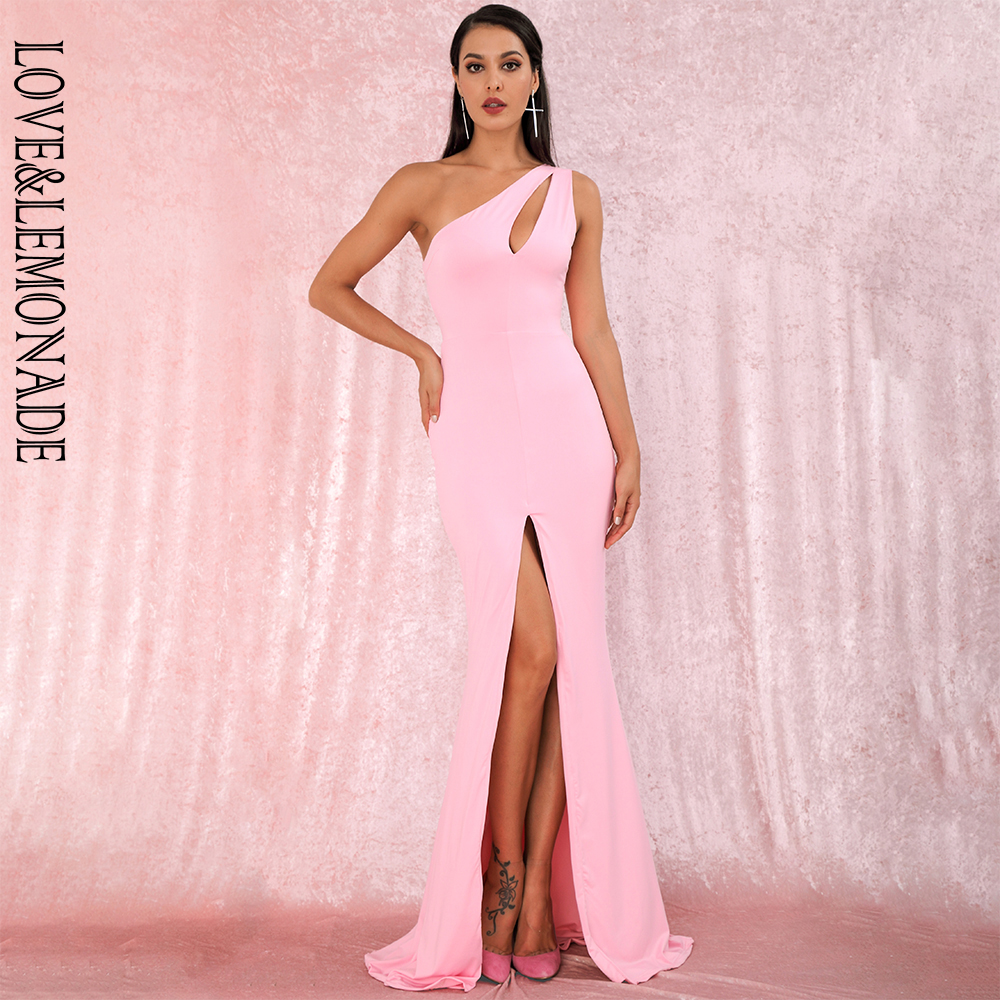 LOVE LEMONADE Sexy Pink One Shoulder Cut Out Bodycon Elastic Material Split Party Maxi Dress LM81921