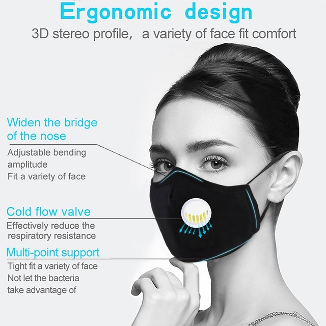 3pcs Cotton PM2.5 Anti Haze Mask Breath Valve Anti-Dust Mouth Mask Activated Carbon Filter Respirator Mouth-Muffle Mask Face 1
