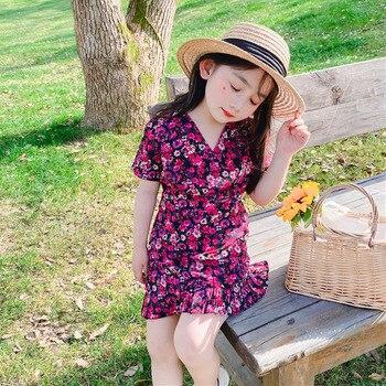Vestido de verano para niñas, vestido de chifón para bebés, vestidos para niños, ropa a la moda, estilo francés, cosecha floral vintage, cola de pez de 2 a 9 años