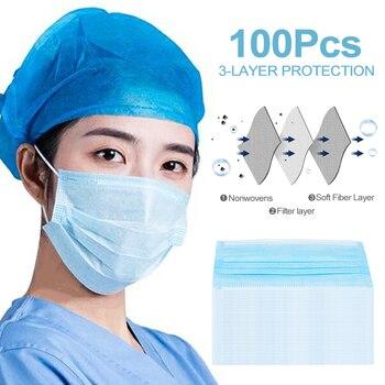 100Pcs Face Mask Masks Gasket Safety Mask 3 Layer White Blue Disposable Mask Mouth Face Masks