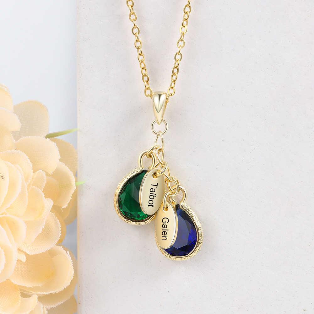 Nome personalizado colar com 2 birthstones gota de água personalizado colar aniversário jóias (jewelora ne103417)