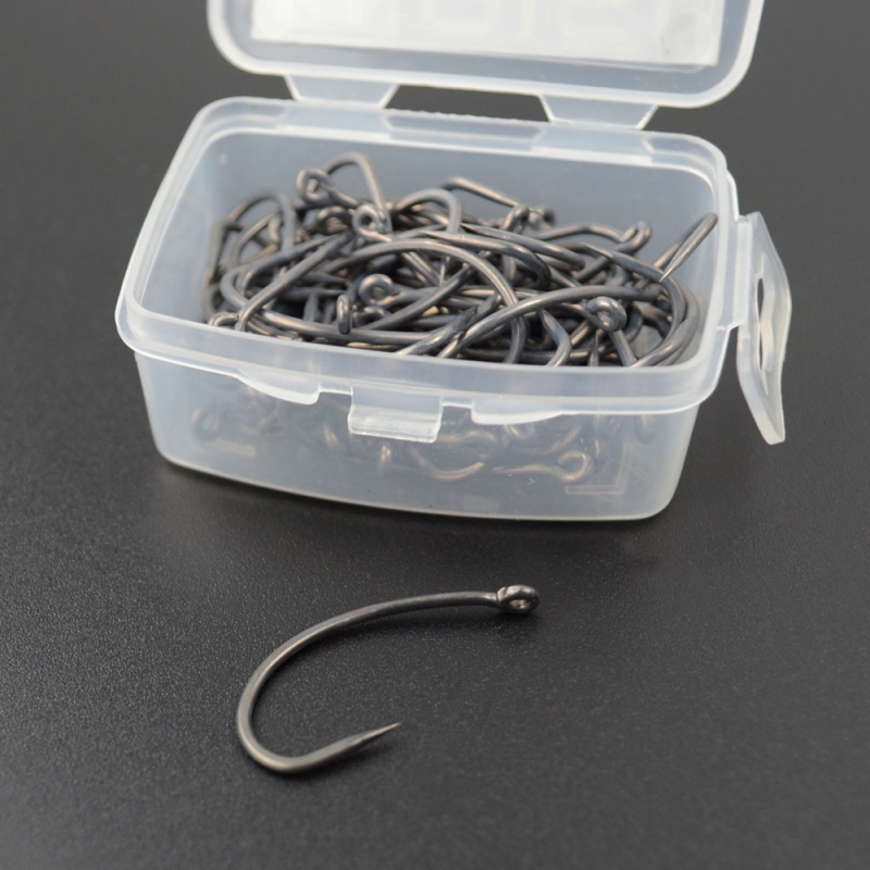 50Pcs/lot Universal Sea Offset Hook Carp Fishing Soft Bait Hooks Dry Fly Hooks Single Barbless Curved Hooks Non-barb Hooks Boxed