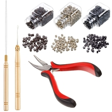 Набор для наращивания волос, плоскогубцы, тянущий крюк, бисерное устройство, набор инструментов и 1500 шт., силиконовые накладные Мини-кольца(черный, бежевый и коричневый B