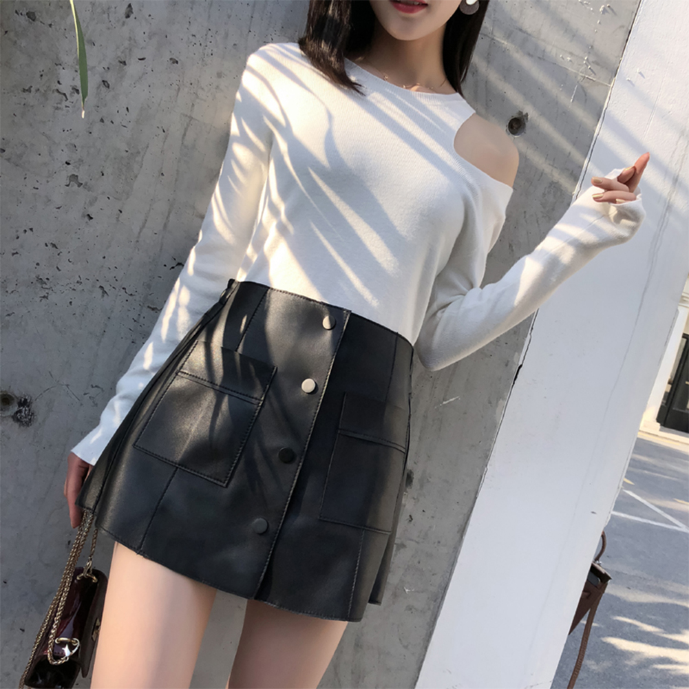 Fashion Elegant Women Ladies Summer Skirts High Waist Single Breasted Solid Slim A Line Suede Leather Mini Skirts 4 colors LE026