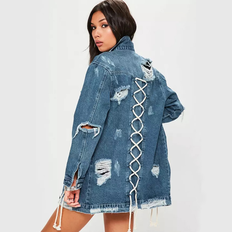 Free shipping 2019 new denim jacket large size ladies jacket women 39 s loose hole clothes in Jackets from Women 39 s Clothing