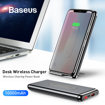 Baseus cargador inalámbrico QI de 10000mAh para iPhone Samsung PD + QC3.0 cargador rápido USB batería externa