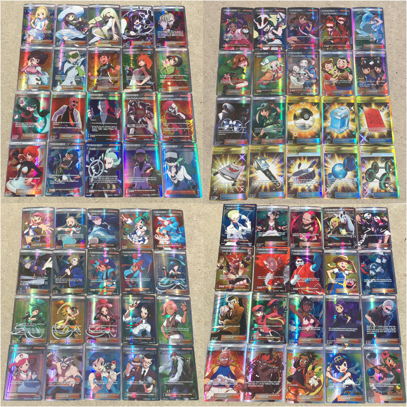 100PCS/BOX Pokemon Flash Cards PTCG Battle Cards Does Not Repeat 92PCS Trainer And 8PCS Prop Cards Child Toy Gift