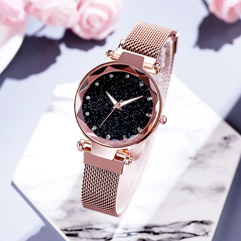 Luxury Starry Sky Watches For Women Stylish Gold Magnetic Mesh Belt Ladies Watch Fashion Dress Female Wristwatch Reloj Mujer