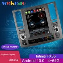 "Wekeao Vertical Screen Tesla Style 10.4"" 1 Din Android 10.0 Auto Radio Automotivo For Infiniti FX35 FX45 FX Car Dvd Player 4G"