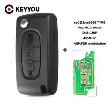 KEYYOU For Citroen C2 C3 C4 C5 C6 C8 433Mhz ID46 3 Buttons light Flip Remote Car Key Fob VA2/HCA Blade CE0523/Ce0536 ASK/FSK New