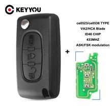 KEYYOU-mando a distancia para Citroën C2, C3, C4, C5, C6, C8, 433Mhz, ID46, 3 botones, luz abatible, mando a distancia de coche VA2/HCA Blade CE0523/Ce0536 ASK/FSK, nuevo