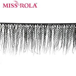 Image 2 - מיס רולה שיער ברזילאי שיער Weave 100% שיער טבעי קינקי מתולתל 3 חבילות עם סגירת ללא רמי שיער הרחבות צבע טבעי