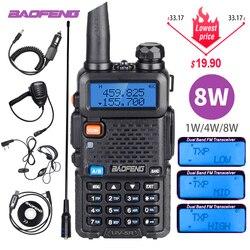 Kuat Baofeng UV-5R 8W Walkie Talkie VHF UHF Transceiver UV 5R Amatir Ham Radio CB Station 8Watt 10 KM Berburu Transmitter