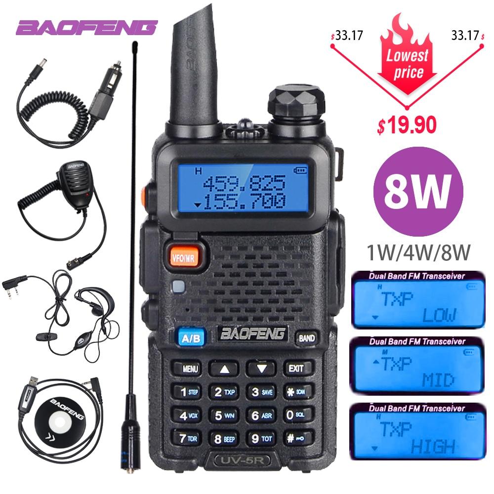 Poderoso baofeng UV-5R 8w walkie talkie vhf uhf transceptor uv 5r amador presunto cb estação de rádio 8watts 10km transmissor caça