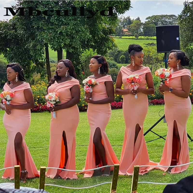 Mbcullyd African Bridesmaid Dresses 2020 Pink Side Split Wedding Guest Dress Long Sexy Off Shoulder Robe Demoiselle D'honneur