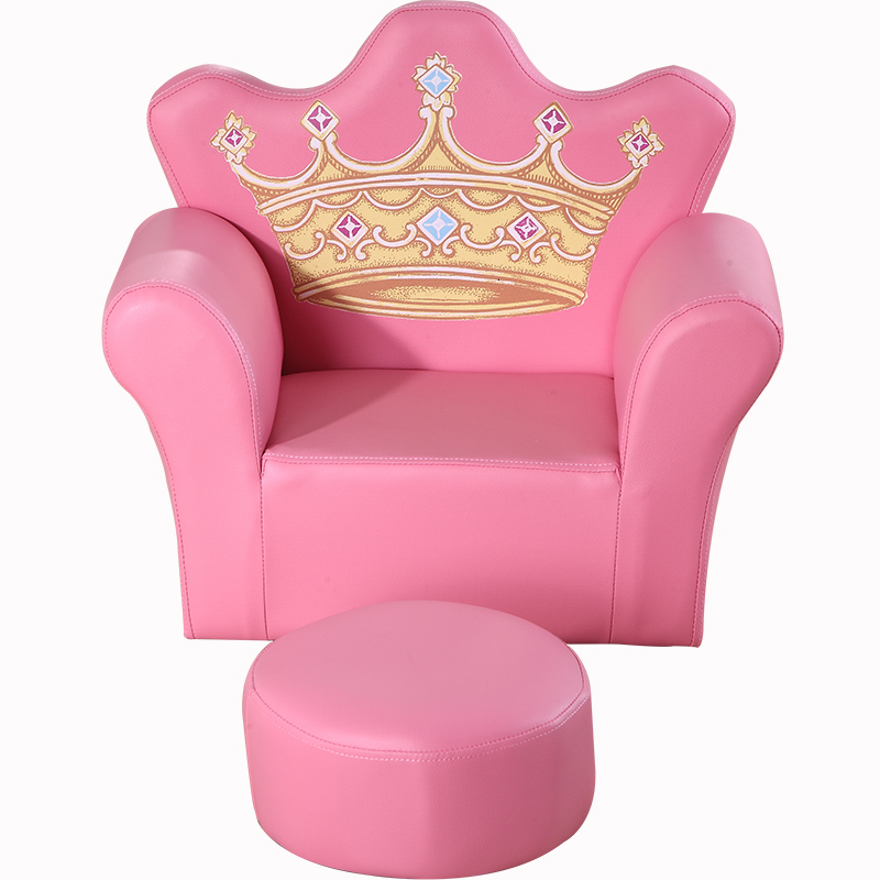 Pink Crown Children Sofa Cartoonv Lovely Small Baby Sofa  Give Baby Stool Batch Multi-function Bean Bag Zitzak Kids Bedroom