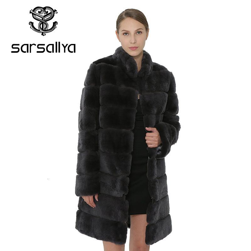 SARSALLYA Rex Rabbit Fur Women Coat  Detachable Overcoat Jacket Warm Winter Women Clothing Natural Fur Female Coat Jacket