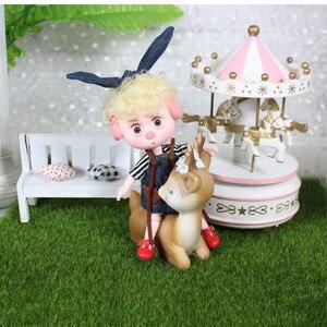 Image 4 - 1/12 bjd 26 siamese 15cm mini boneca nova porco sorte ob11 boneca com equipamentos sapatos conjunto de maquiagem presente brinquedo