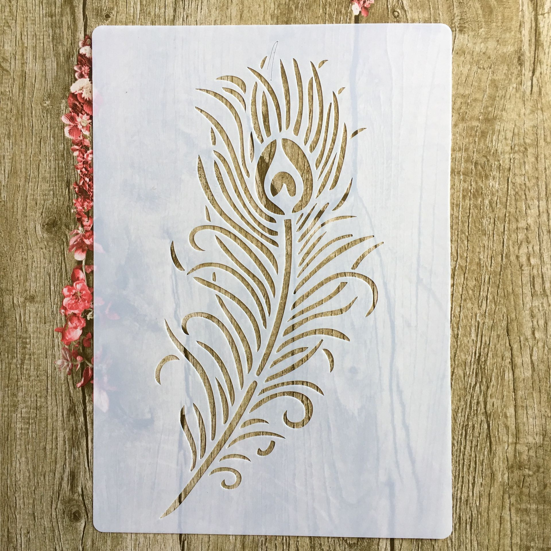29 * 21cm Large Feather DIY Stencils Wall Painting Scrapbook Coloring Embossing Album Decorative Paper Card Template