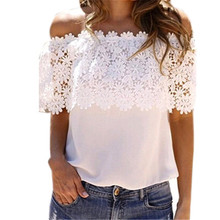 цена на Blouse Women Summer Sleeveless Shirt Lace Patchwork Womens Blouses And Tops Slash Neck Ladies Lace Tops Women Blouse Plus Size