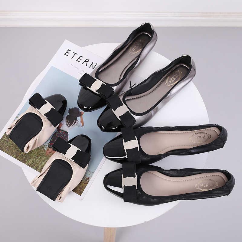 靴女性 sapato feminino zapatos mujer 2019 ローファー女性バレリーナファム女性フラットシューズバレエシューズラウンドトウゴム pu