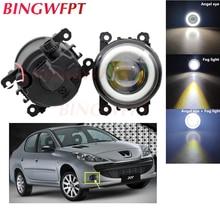 2x High power LED Fog Lamps Angel Eye light with Glass len For Peugeot 107 207 307 3008 407 607 301 308 408 2008 4007 4008 5008