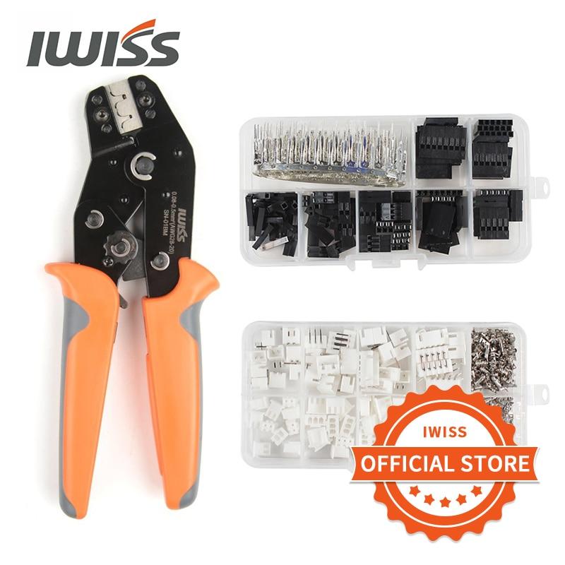 IWISS SN-01BM 310pcs150pcs  Crimping plier Connectors kit for XH2 54mm XH3 96mm Dupont D-Sub Terminals JST Pin Crimper tool set