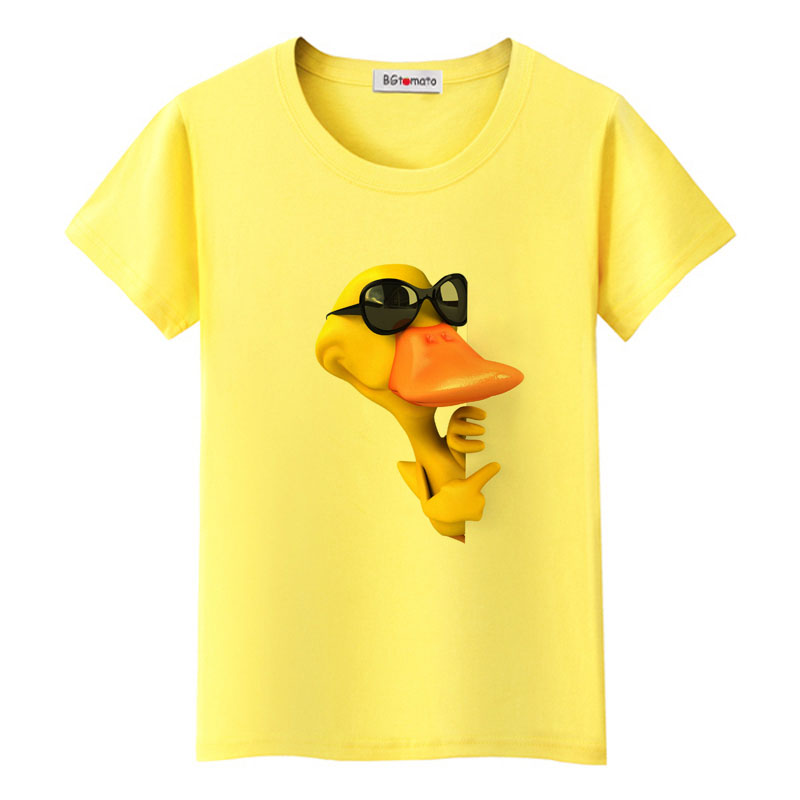 BGtomato 3D duck tshirt super funny t shirt women harajuku tops kawaii Duck tshirt women lovely graphic t shirts friends clothes image