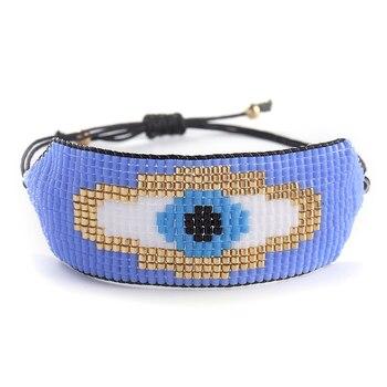 Pulsera turca de ojo malvado de ZHONGVI, Pulseras de lujo hechas a mano MIYUKI, Pulseras de Moda tejidas para Mujer, regalo de Moda, Dropshipping
