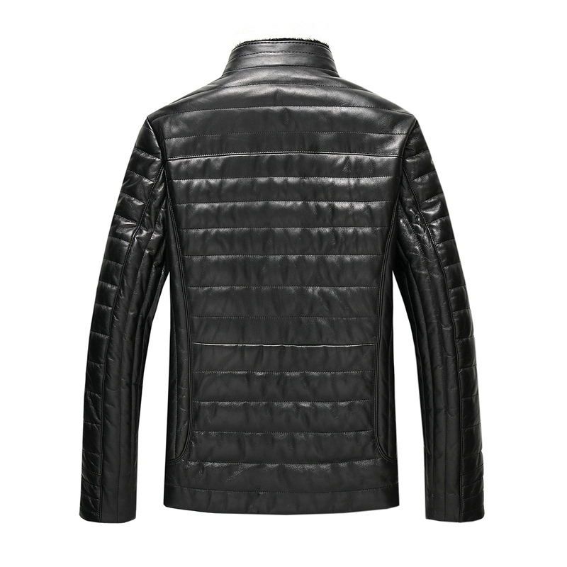 Mink Fur Collar Real Genuien Leather Jacket Autumn Winter Sheepskin Down Coat Casual Black Men's Leather Jacket Casaco ZT4471