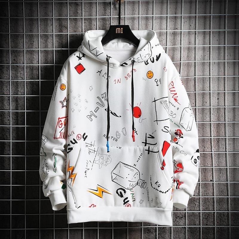 Hoodie Sweatshirt Mens Casual Pullover Hoodies Druck Männlichen Hip Hop Streetwear Kapuzen Trainingsanzüge 2020 Herbst Neue Trend Kleidung