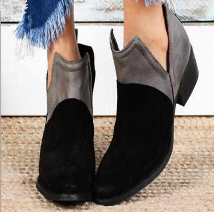 Chelsea çizmeler kadın 2019 Sonbahar PU deri Martin çizmeler Kadın slip-on Sivri yarım çizmeler kadın rahat ayakkabılar artı size35-43 038