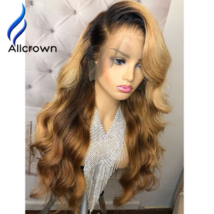 Image 5 - ALICROWN Ombre Lace Front Human Hair Wigs Brazilian Non Remy Hair 13*4 Lace Wigs 1b/27 Pre Plucked Wigs With Baby Hair