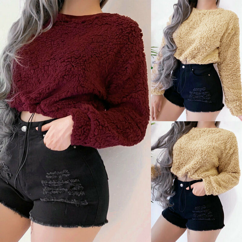 Brand New Women Teddy Bear Fluffy Long Sleeve Sweater Jumper Pullover Crop Tops Autumn Winter Solid Warm Sweaters Active Wear