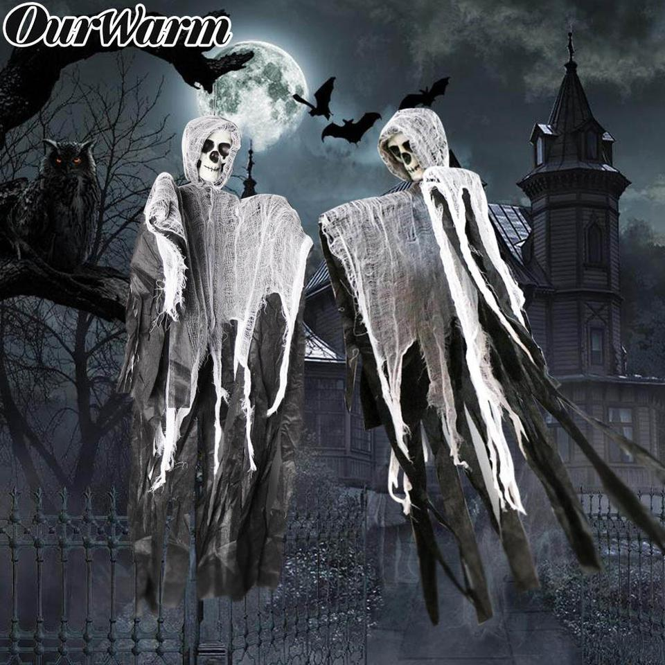 US $0 69 OurWarm Horrible Hanging Skull Ghost Halloween Decoration for Party Haunted House Props Hanging Grim Reaper Home Door Bar Decor Party DIY