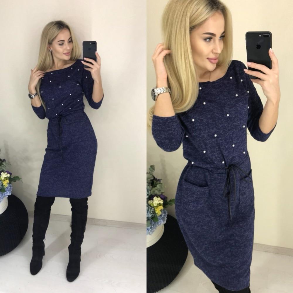 2019 New Women Winter Spring Colors Cotton Dress Beading Knee-Length Stretch Elegant Long Sleeve O-neck Pockets Office Dresses