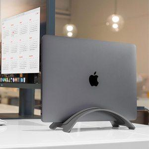 Vertical Aluminum Space-saving Anti Slip Laptop Stand Desktop Erected Holder for Apple MacBook Pro Air Retina Laptop Accessories