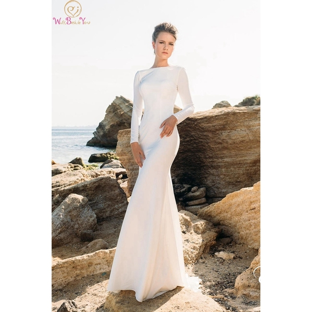 Élégant à manches longues sirène Simple robes de mariée 2020 col rond Sexy dos nu robes de mariée blanc ivoire Satin robes de noiva