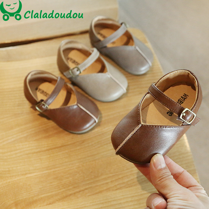 11.5-15.5cm Brand Baby Shoes Retro Girls Princess Shoes Brown Khaki Gray Leather Dress Shoes For 0-1-2-3 Years Old Toddler Girls