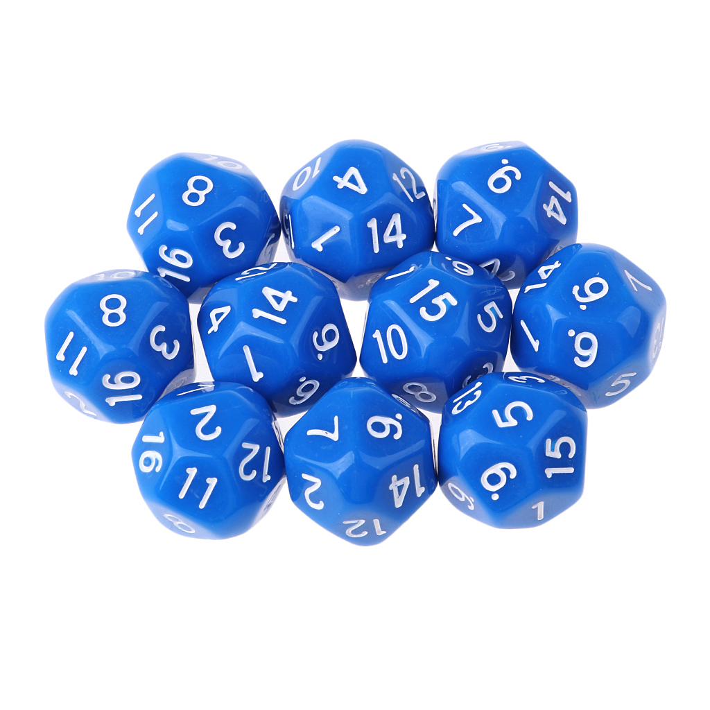 10pcs 16 Sided D16 14mm Acrylic Opaque Dice For Role Playing Game RPG