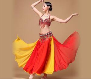 Image 5 - Женская юбка для танца живота, модная Богемская юбка макси для тренировок, экзотическая танцевальная одежда черно красного цвета, 2 цвета