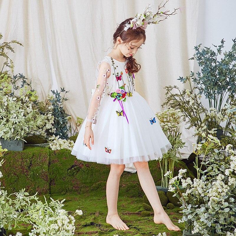 Butterfly Fairy Long Sleeve Dresses Of Bride Fellow Kids Girls Princess Dress Children Wedding Dress Catwalks Late Formal Dress