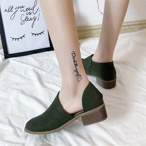 Image 4 - Fretwork sapatos femininos primavera outono baixo chunky salto apontado lado zip bombas de tornozelo curto sandálias oco para fora sapatos retro
