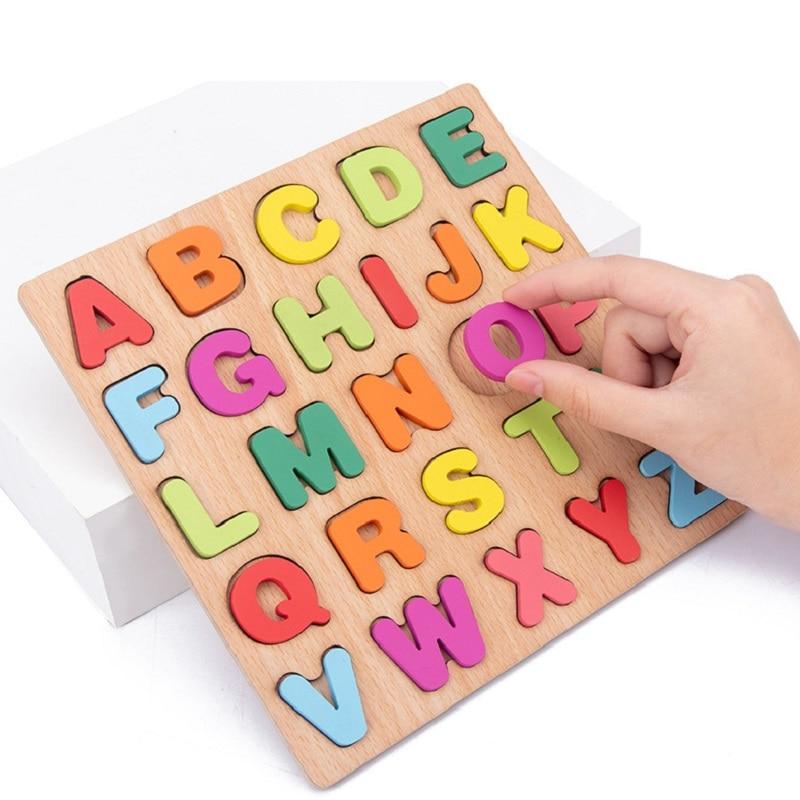 1 PC 20cm 다채로운 알파벳 번호와 나무 보드 3D 퍼즐 아이 조기 교육 장난감 일치하는 편지 가족 게임