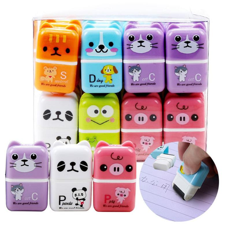 1pc Roller Eraser Cute Animal Smear Cleaning Primary School Children Creative Cartoon Roller Eraser Color Random Stationery