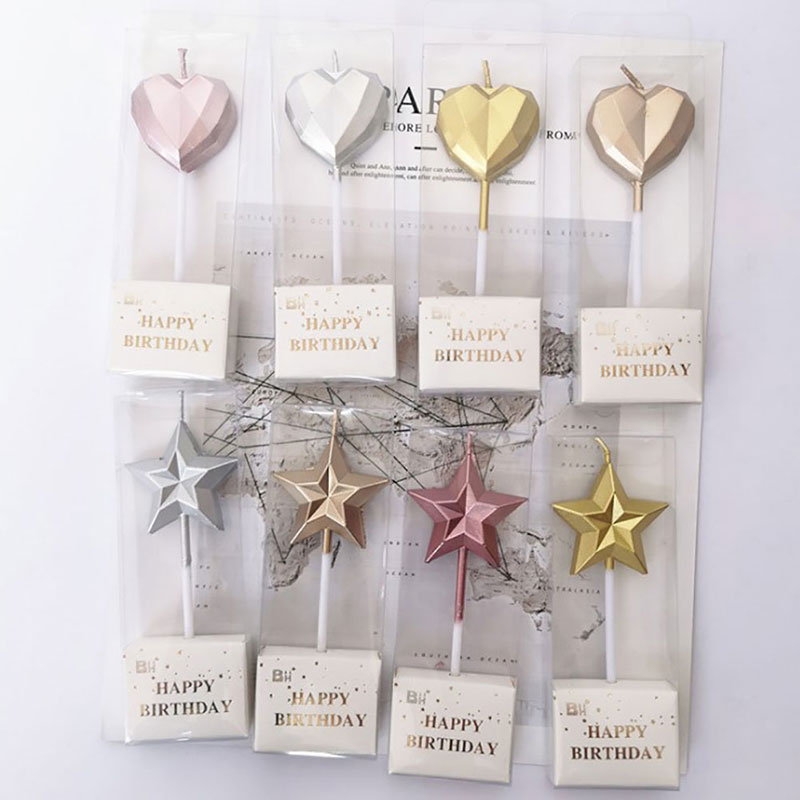 Sparkling Birthday Candle Cake decoration wax star Love heart Gold silver Romantic for Party wedding Smoke-free favors Supplies