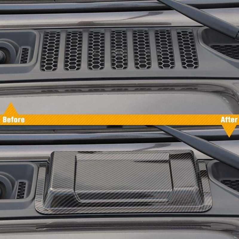 Capot ABS moteur couvercle d'admission capot d'admission d'air évent Scoop pour Jeep Wrangler JL JLU 2018 2019, Fiber de carbone