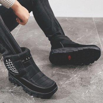 Men's Sneakers 2019 Autumn Winter Super Warm Leather Snow Men's Shoes Low Help Increase Anti-Slip Black Men's Boots Male