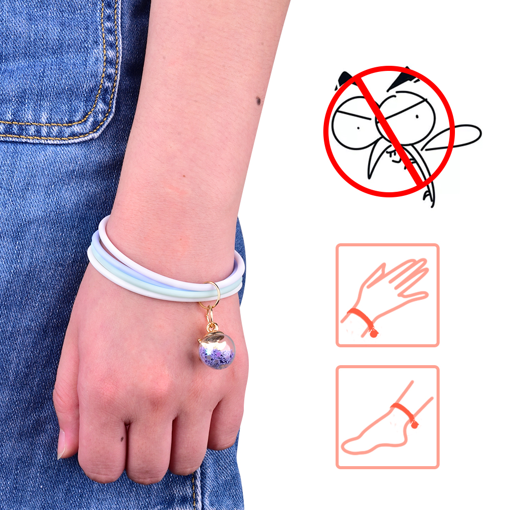 Anti Mosquito Bracelet Mosquitoes Repellent Silicone Wristband Bangle With Enamel Charms For Women Kids Outdoor Gadget