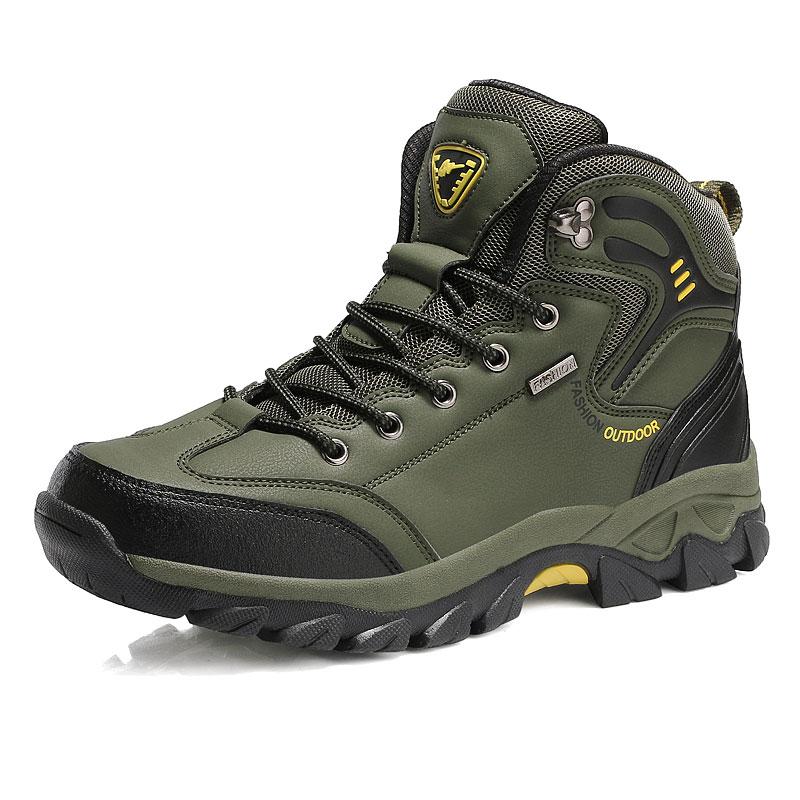 Водонепроницаемые кожаные ботинки на шнуровке; Высококачественная Нескользящая спортивная обувь для охоты и скалолазания; Уличная обувь с высоким верхом; голая Гора - Цвет: Зеленый